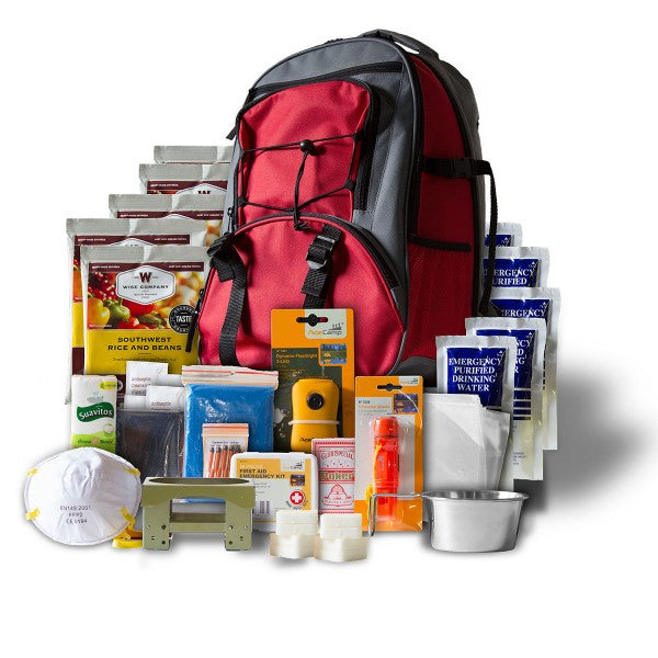 Wise Five Day Emergency Survival First Aid Kit with Food & Water for One Person - Red