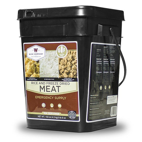 Gluten Free Freeze Dried Meat & Rice - 104 Servings of Wise Emergency Survival Food