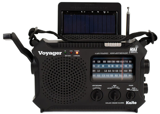 KAITO KA500L 4-WAY POWERED EMERGENCY AM/FM/SW NOAA WEATHER ALERT RADIO WITH SOLAR, DYNAMO CRANK,FLASHLIGHT AND READING LAMP,  WITH LARGER BATTERY AND SOLAR PANEL