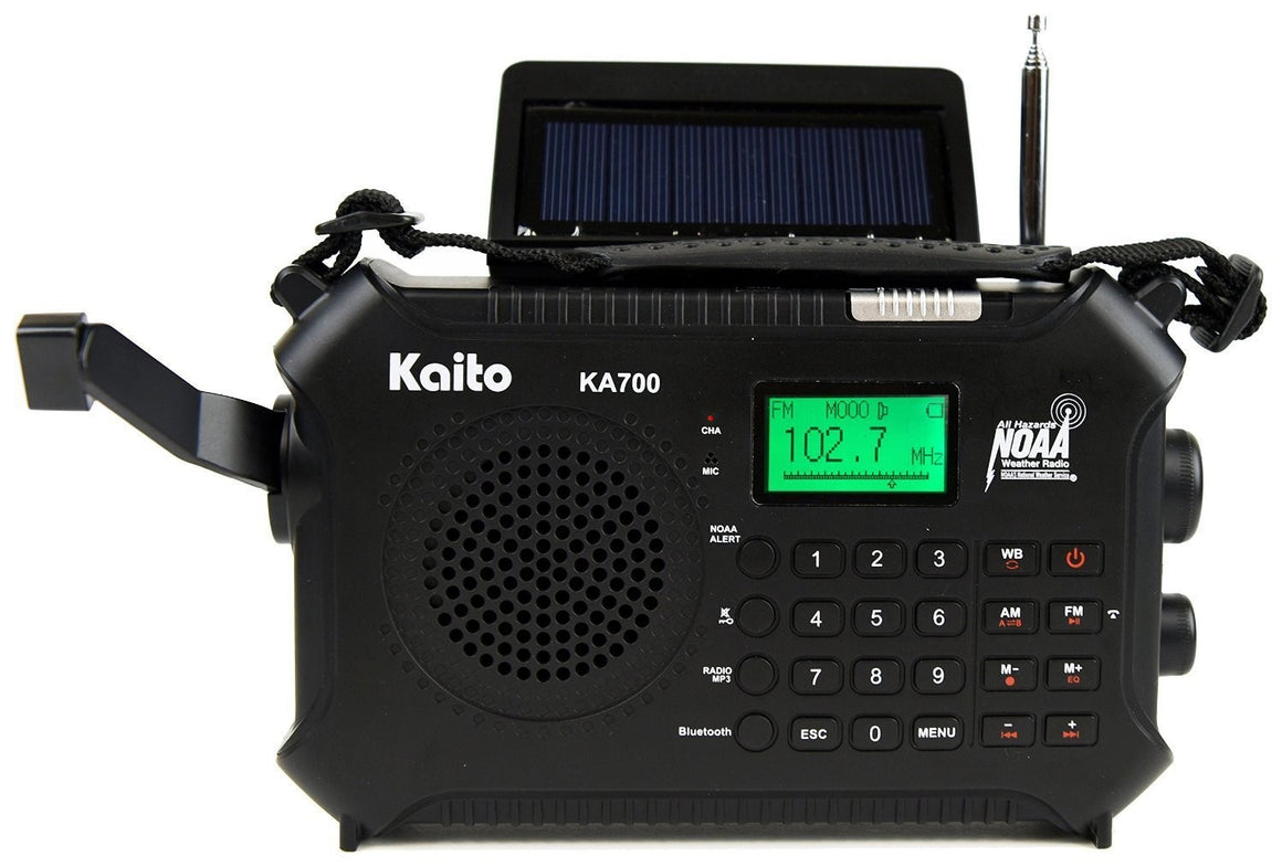 KAITO KA700 BLUETOOTH EMERGENCY HAND CRANK DYNAMO & SOLAR POWERED AM FM WEATHER BAND RADIO  WITH RECORDER AND MP3 PLAYER  RUGGED DESIGN FOR HIKING, CAMPING, CONSTRUCTION SITES, ETC