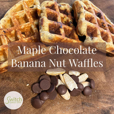 Low Carb Maple Chocolate Banana Nut Waffles