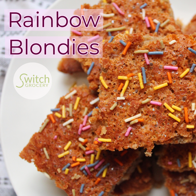 Low Carb, Sugar Free Rainbow Blondies