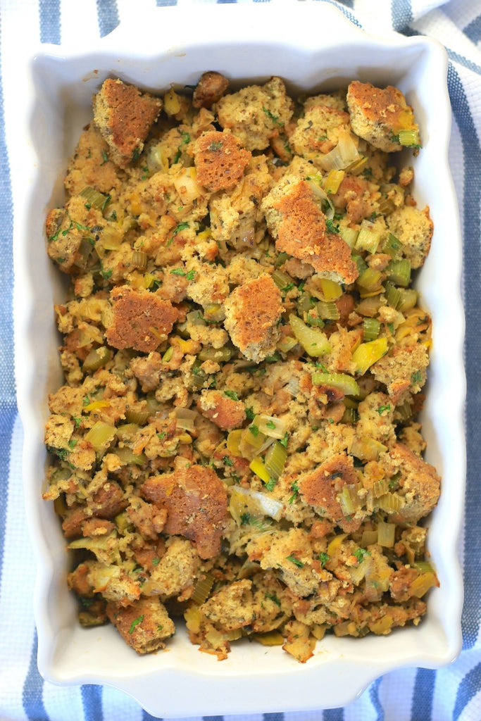 Casserole of grain free low carb stuffing