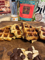 Final Sugar Free Christmas Maple Banana Nut Chocolate Waffles Chaffles on SwitchGrocery