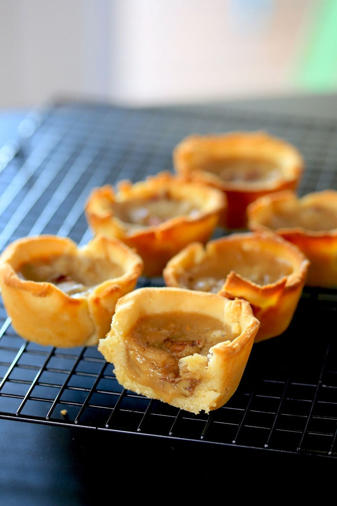 6 keto butter tarts on a cooling rack