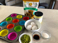 Ingredients for Keto matcha lemon glaze muffins