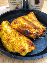 Keto and Paleo Friendly Fish Masala recipe with tandoori and tadka with Jaswant's Kitchen spices on SwitchGrocery Canada