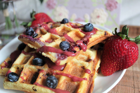 Mother's Day Special Low Carb Triple Berry Waffles Recipe with keto friendly Gooddees pancake mix and low carb Spresh fruit spread on SwitchGrocery Canada