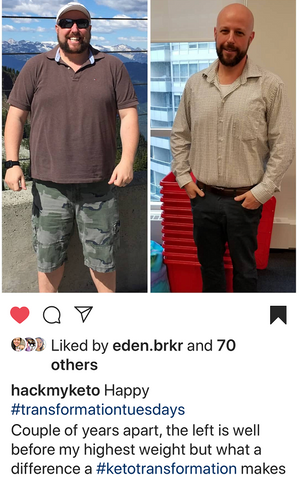 Mark Hack My Keto - Father's Day Feature - Keto Transformation Tuesday Instagram with 90 lbs lost on SwitchGrocery