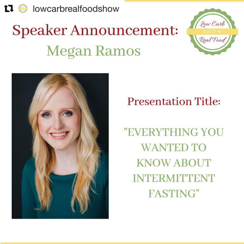 Megan Ramos speaking at SwitchGrocery sponsor event Low Carb Real Food Show on Intermittent Fasting