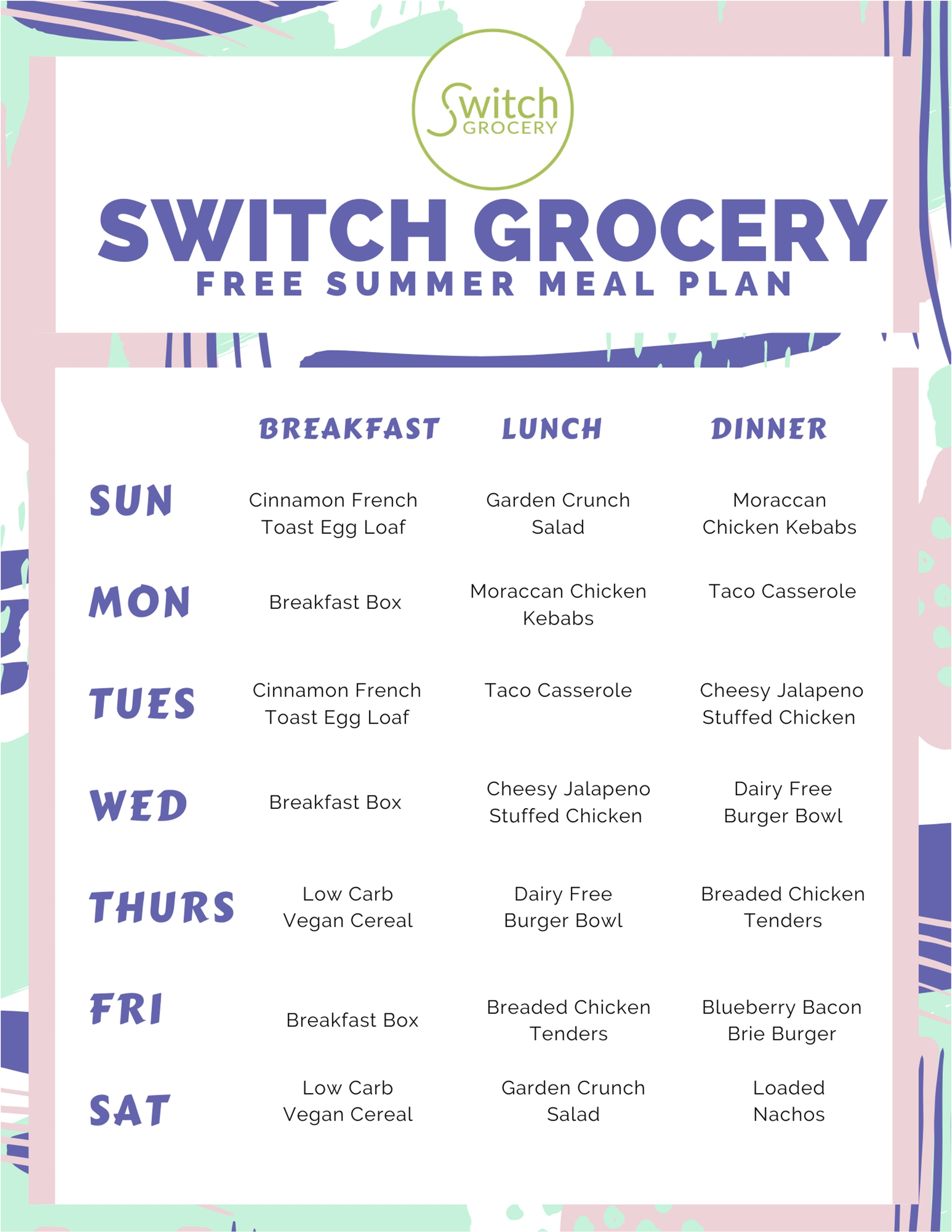 free summer Keto meal plan on SwitchGrocery Canada made by Sugar Free Brie