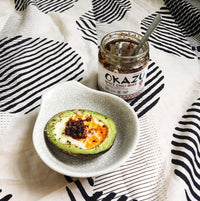 Avokado Egg topped with Okazu Spicy Chili Miso