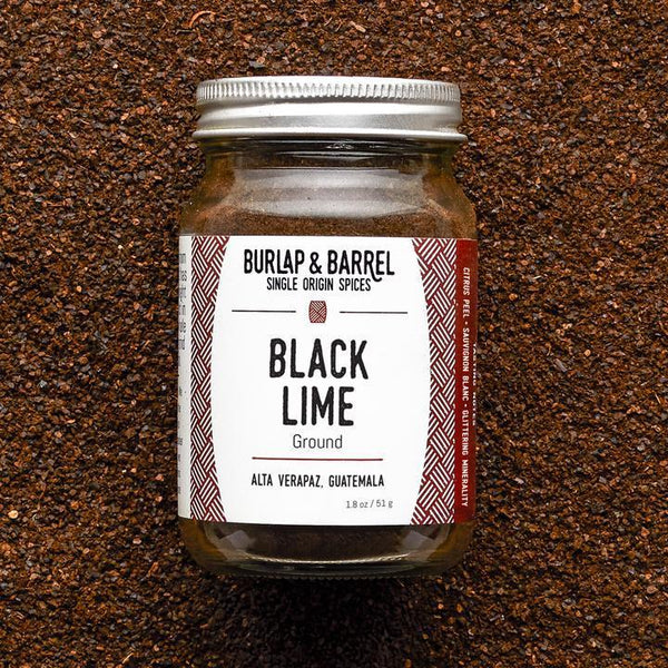 Burlap & Barrel Ground Black Lime spice jar on SwitchGrocery Canada