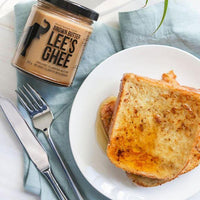 Lee's Ghee Brown Butter Ghee Keto Caramel Alternative use on Low Carb French Toast with Good Dee's Mixes available on Switch Grocery Canada