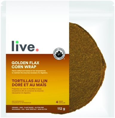 shop Live Organic Golden Flax Corn Wrap Vegan Low Carb and Keto friendly available on Switch Grocery Canada