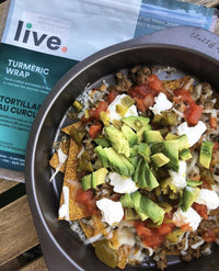Low Carb Nachos with Keto Friendly Vegan Live Organic Turmeric Wraps available on Switch Grocery Canada
