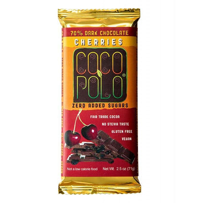Coco Polo Cherry Sugar Free Dark Chocolate Bar