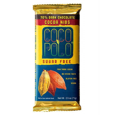 Coco Polo Cocoa Nibs Sugar Free Dark Chocolate Bar