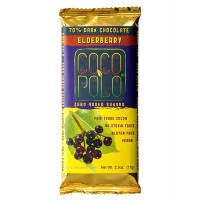 Coco Polo Elderberry Sugar Free Dark Chocolate Bar