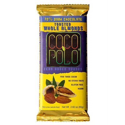 Coco Polo Whole Almond Sugar Free Dark Chocolate Bar