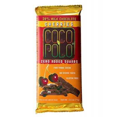 Coco Polo Cherry Sugar Free Milk Chocolate Bar