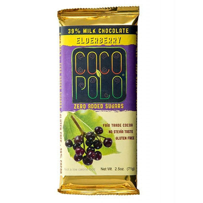Coco Polo Elderberry Sugar Free Milk Chocolate Bar