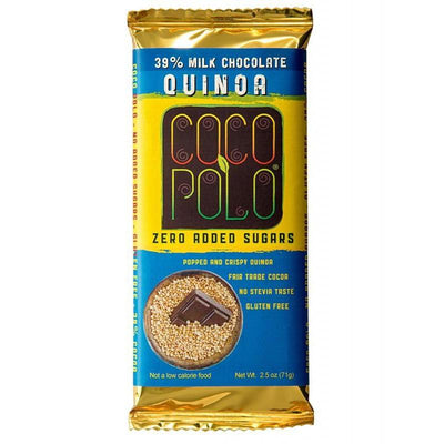 Coco Polo Crispy Quinoa Sugar Free Milk Chocolate Bar