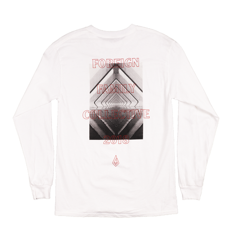 2018 Limited Foreign Family Graphic Long Sleeve Tee - White