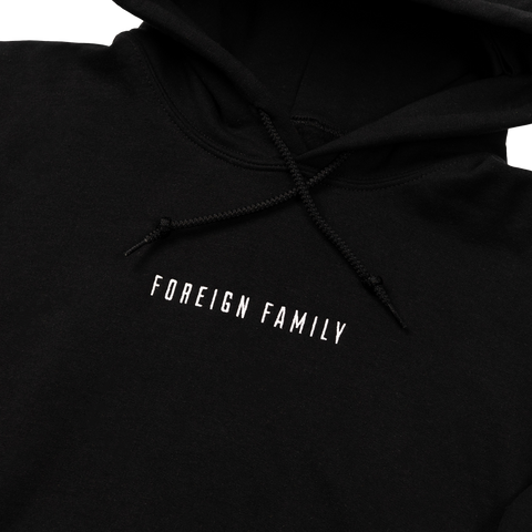 Foreign Family Embroidered Hoodie - Black
