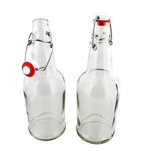 Swing Top Glass Bottle with Lids 16 oz Glass Bottles 6-Pack