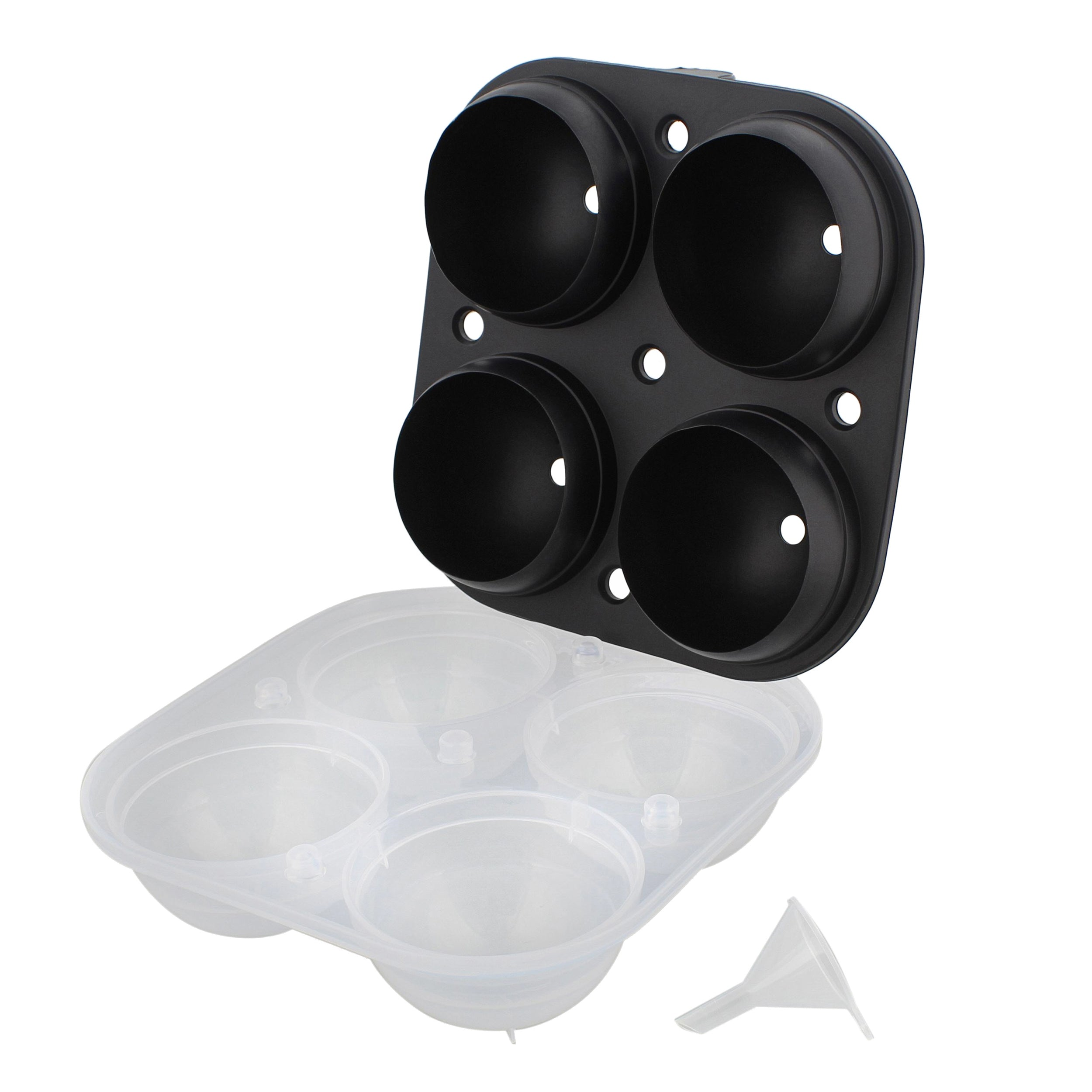 Round Ice Molds 4 Ice Ball Black 1pk Sphere Flexible Silicone Ice Tray
