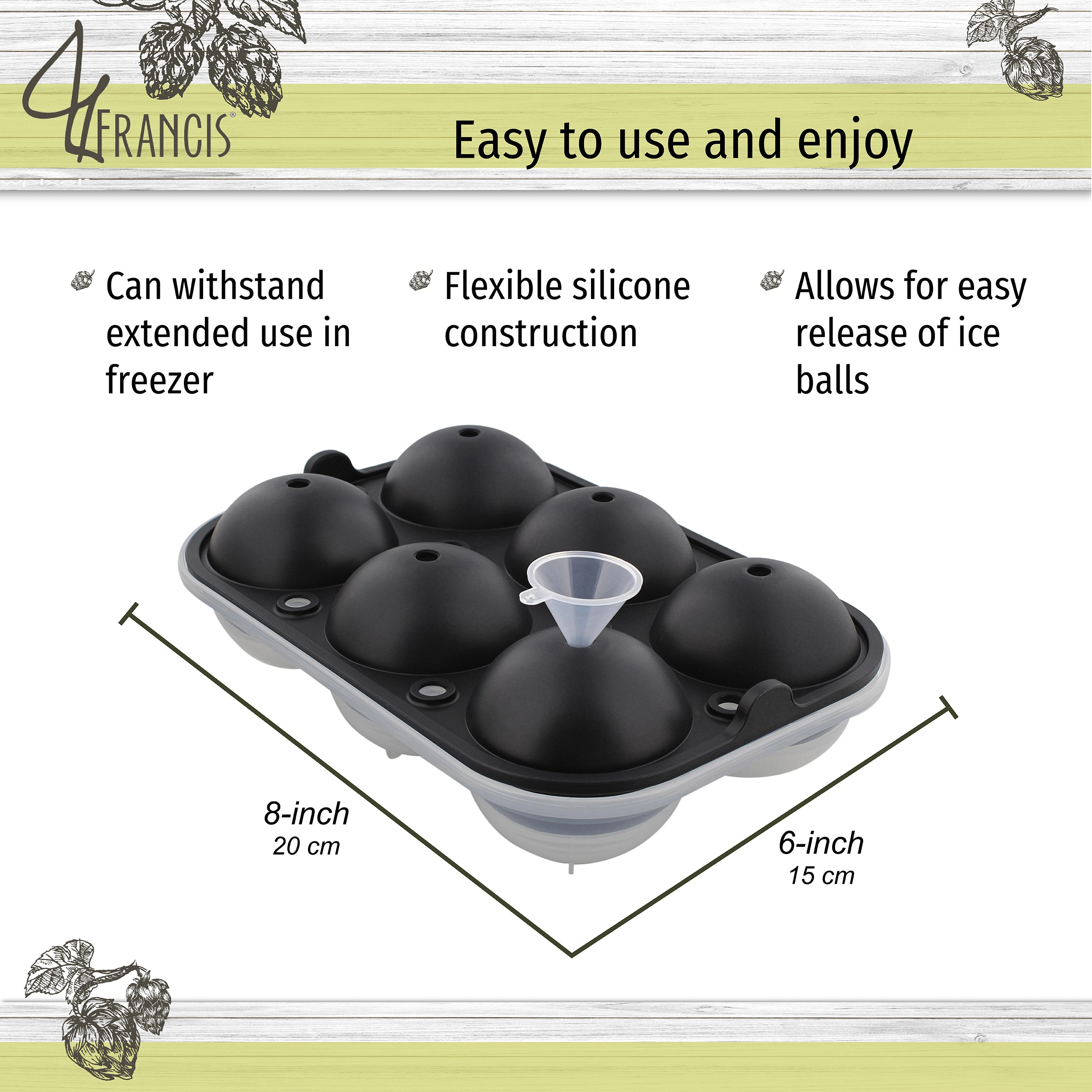 Round Ice Molds 6 Ice Ball Black 1pk Sphere Flexible Silicone Ice Tray