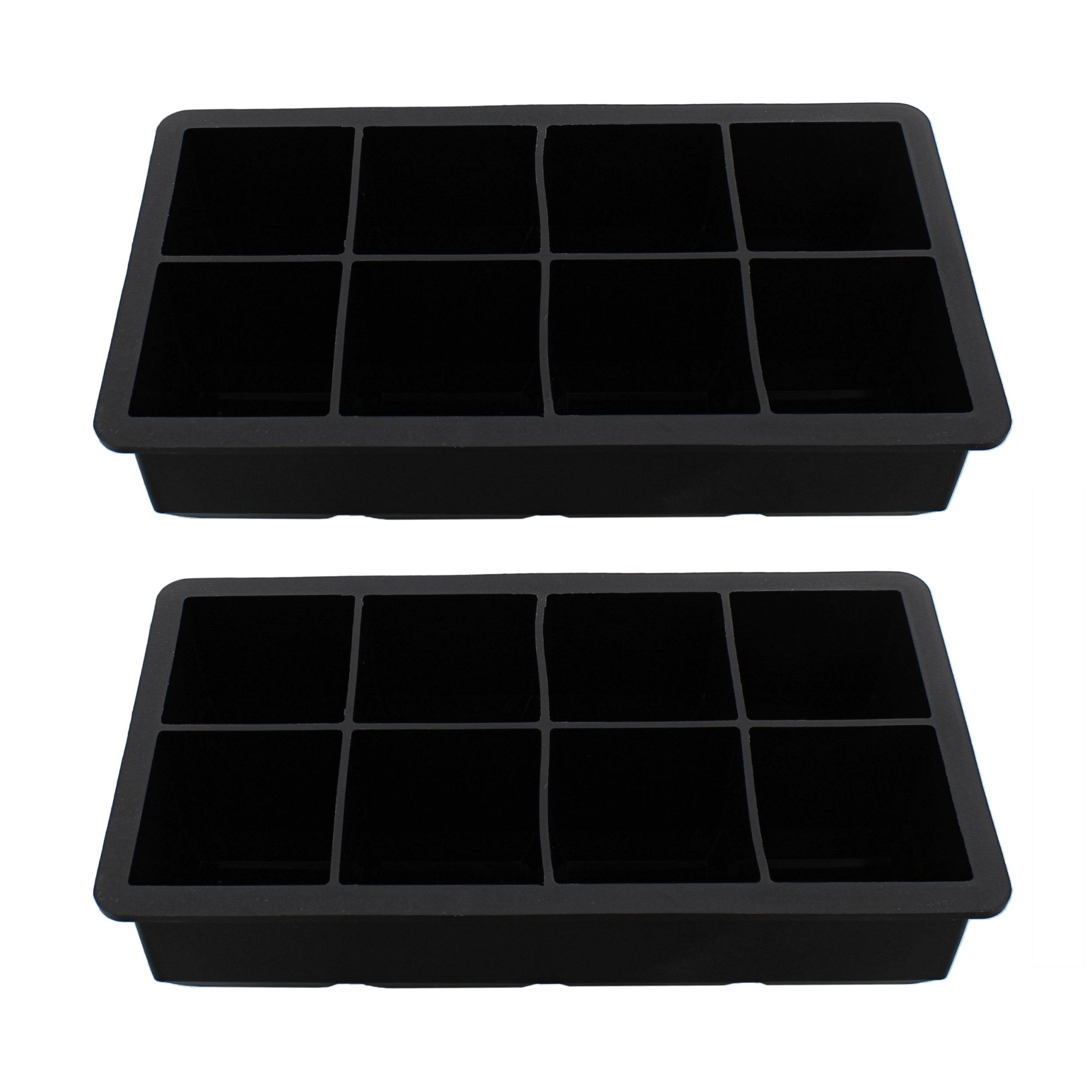 Silicone Ice Cube Mold 8 Cubes Black Food Drink Ice Tray Set