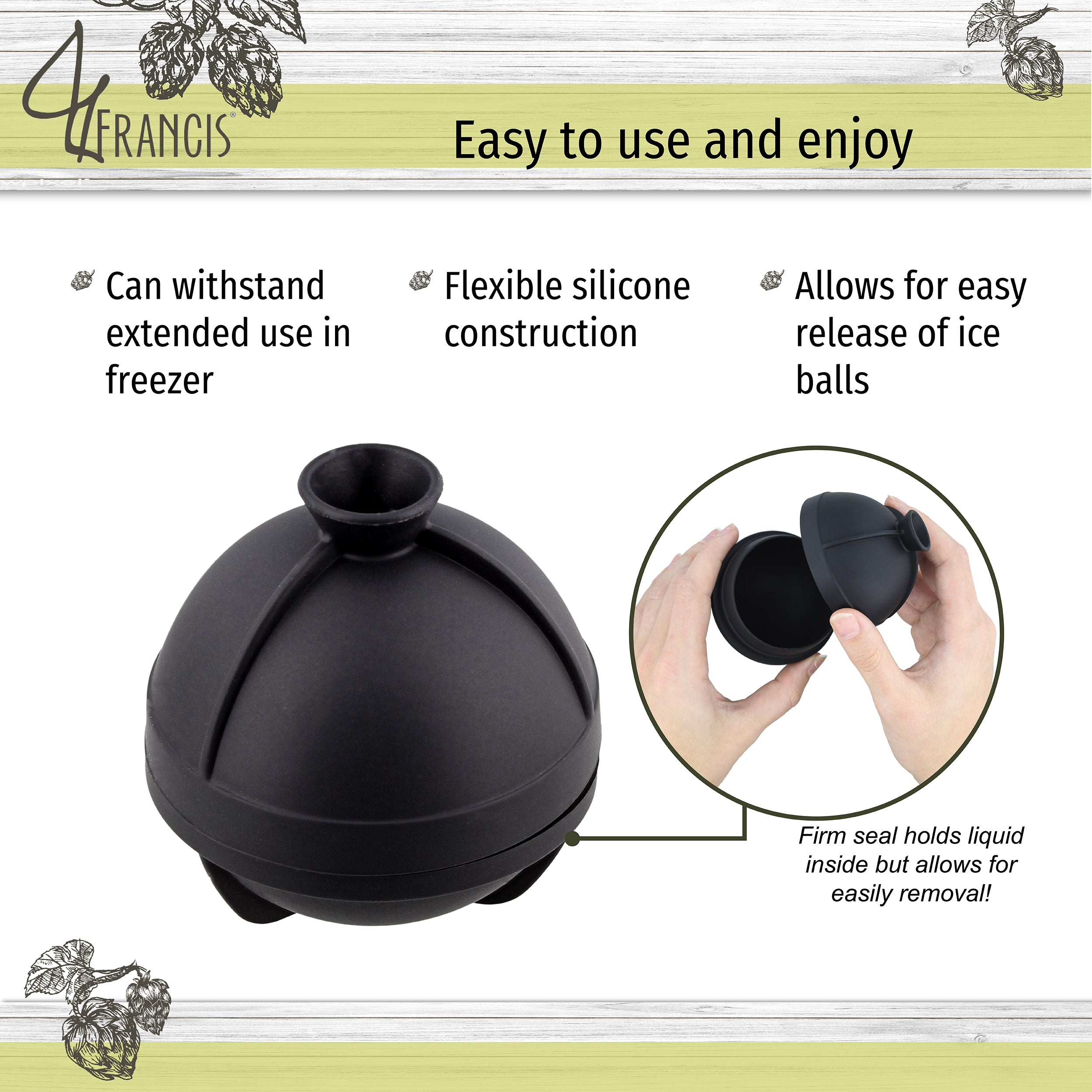 Round Ice Molds 4 Ice Ball Black Sphere Flexible Silicone Ice Balls
