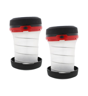 Multifunction Red Collapsible Portable LED Lantern - 2-PACK, AA Battery Powered
