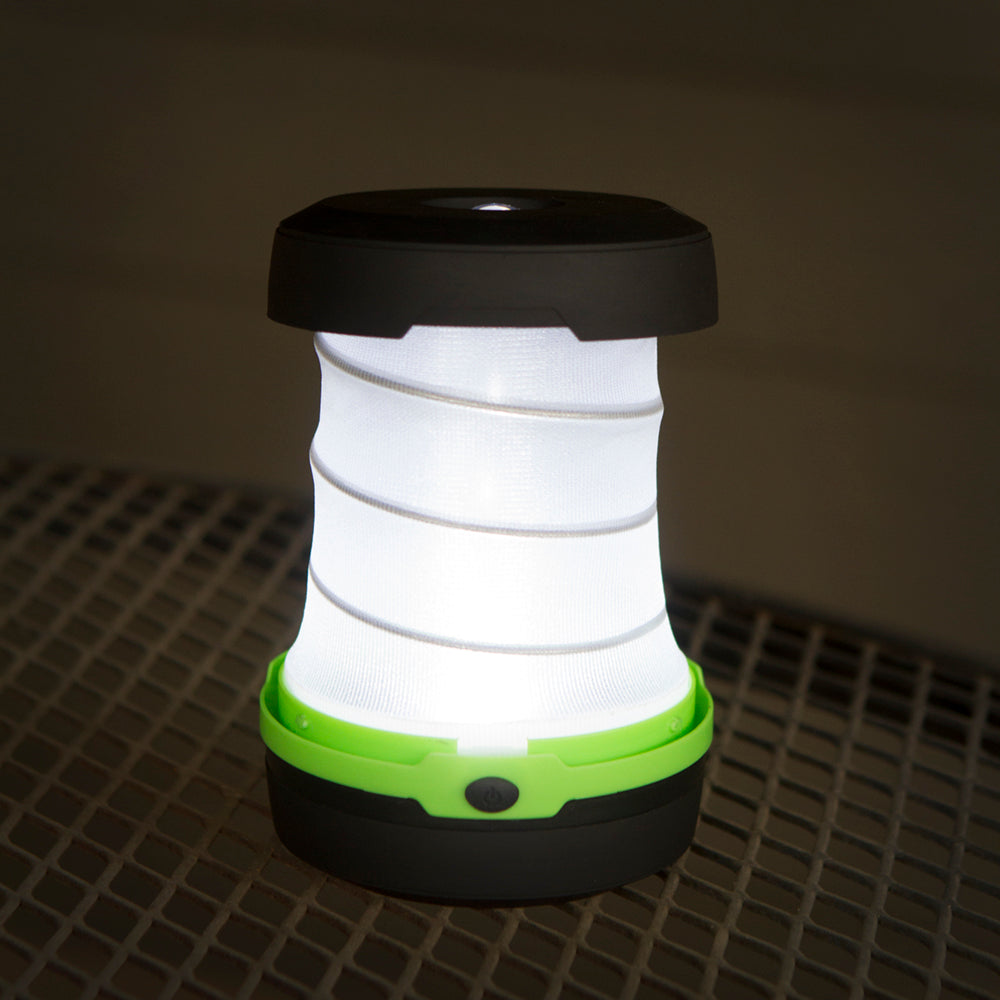 Multifunction Green Collapsible Portable LED Lantern - 2-PACK, AA Battery Powered