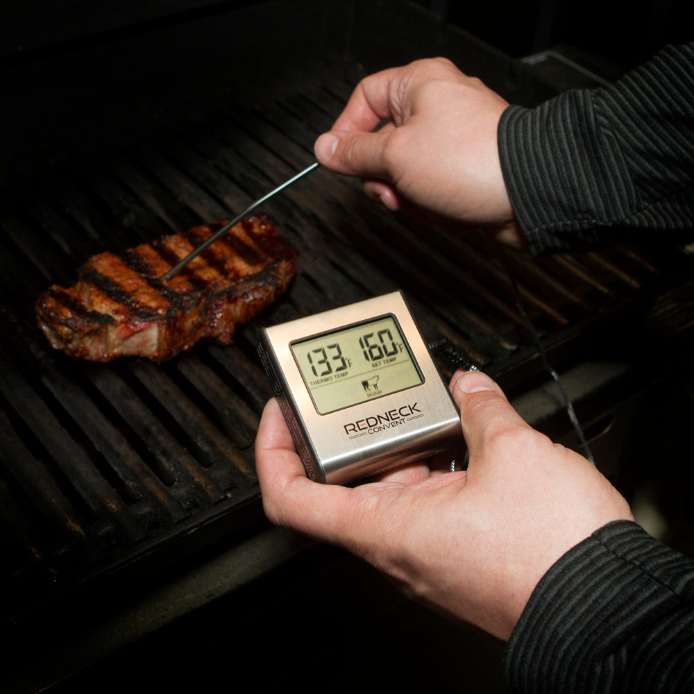 Digital Meat Thermometer Probe & Timer Grilling Food Cooking Temp