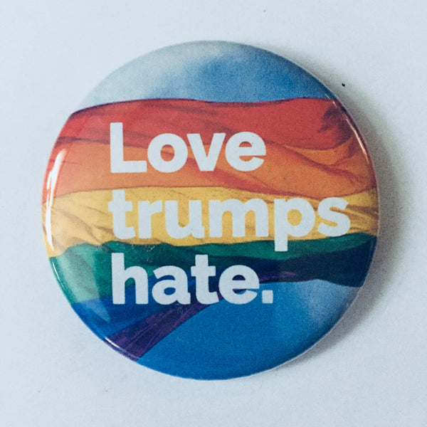 "Magnet: ""Love Trumps Hate:"" LGBT Rainbow Pride Flag"