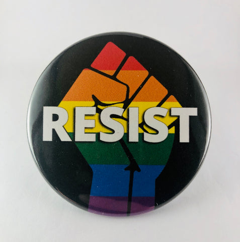 "Button: ""Resist:"" Rainbow Fist on Black Background"