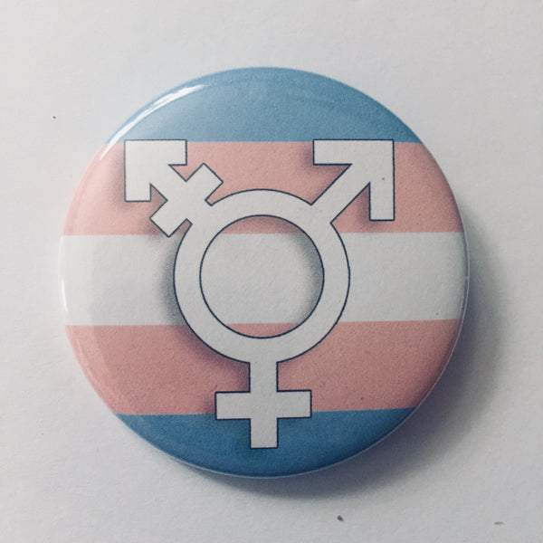 Button: Transgender Symbol & Flag