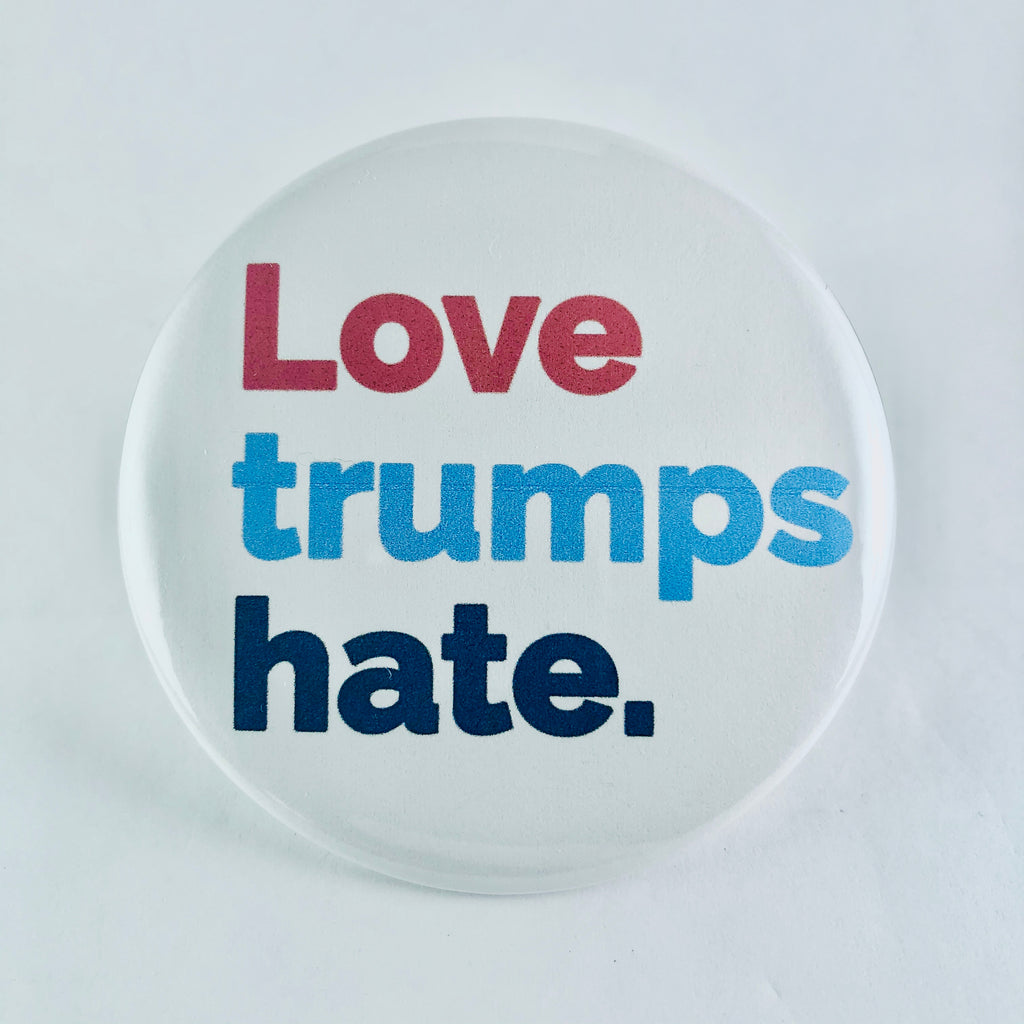 "Magnet: ""Love Trumps Hate:"" White Background"