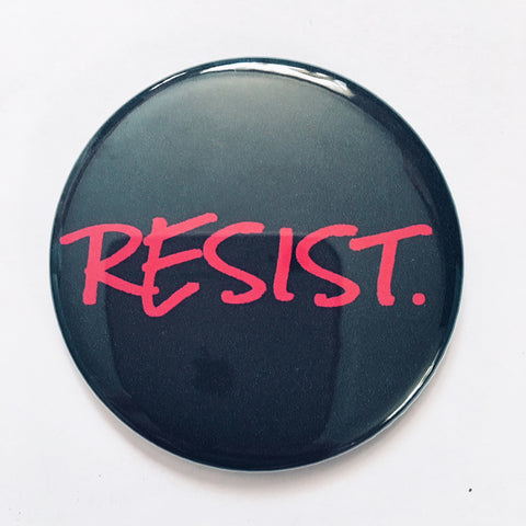 "Magnet: ""Resist:"" Red Handwriting on Black Background"