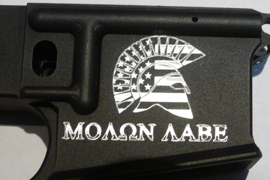 Molon Labe engraving on a AR-15 or AR-10 for use with Ghost Gunner using G code