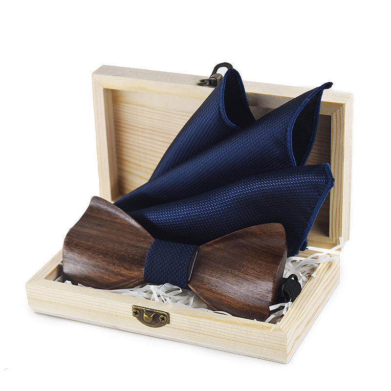 3D Wooden Bow Tie, Brooch and Cufflinks Set