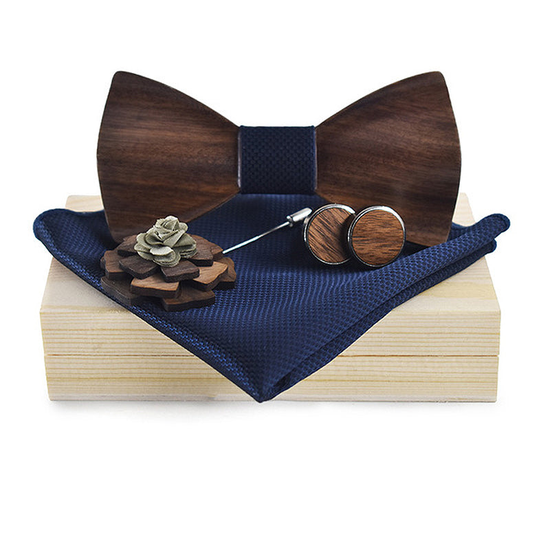 3D Wooden Bow Tie, Brooch and Cufflinks Blue Set
