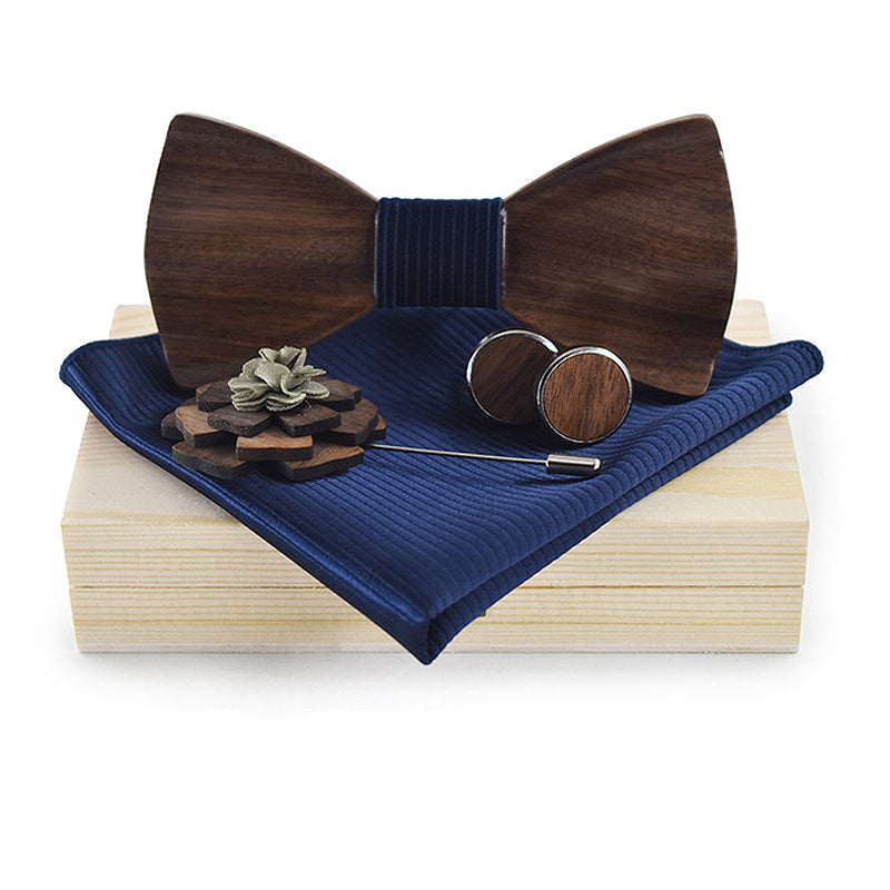 3D Wooden Blue Bow Tie, Brooch and Cufflinks Set