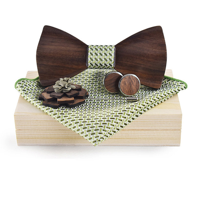 3D Wooden Green Bow Tie, Brooch and Cufflinks Set