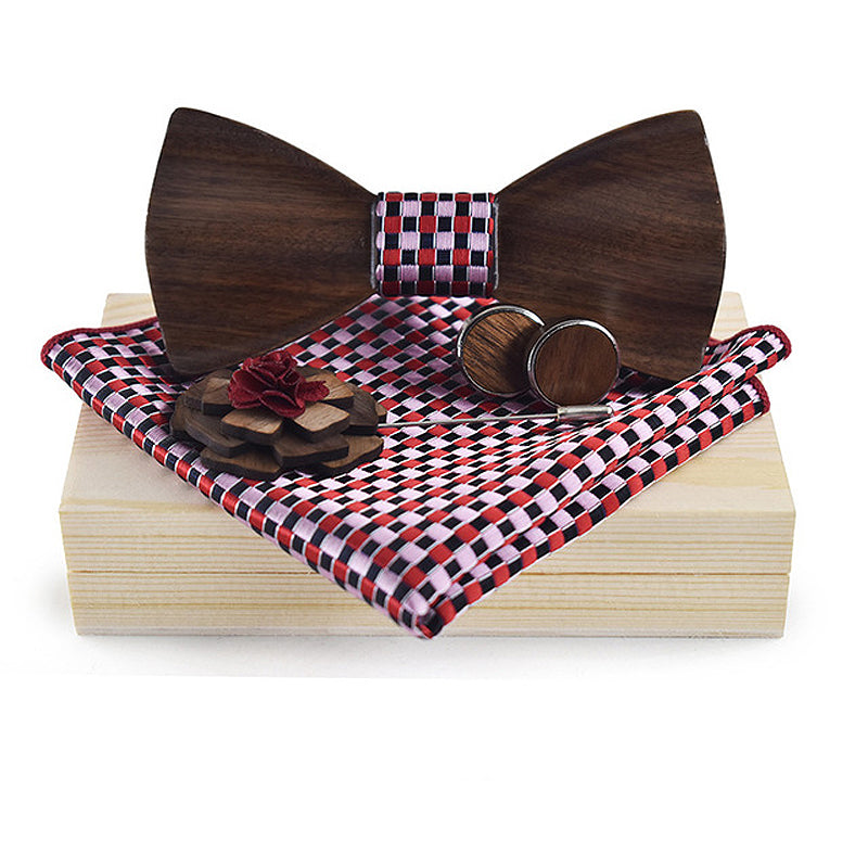 3D Wooden Red Pink Bow Tie, Brooch and Cufflinks Set