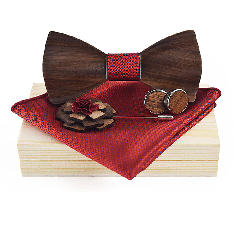 3D Wooden Red Bow Tie, Brooch and Cufflinks Set