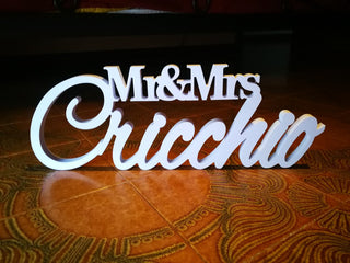 "Custom Expanded Mr & Mrs LAST NAME 7"" Table Sign"